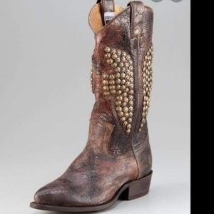 (Frye) Billy Hammered Studded Cowboy Boots 8.5